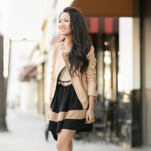 Zara Nude Leather Jacket with Ruffle Detail